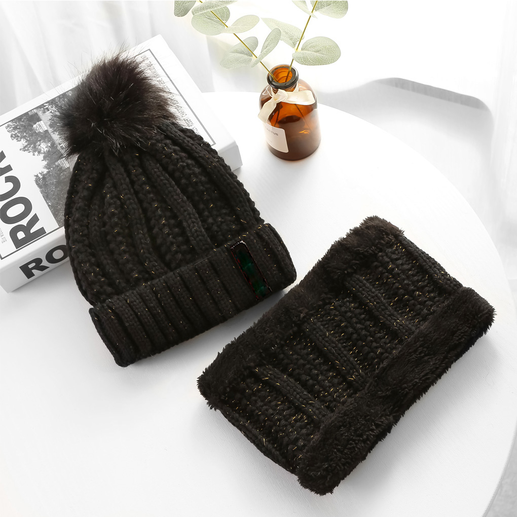 Fashion Woman Winter Warm Hat Knit Hat&Scarf 2 Pieces Hat For Women Girls Pompoms Beanies Scarves Set Woman Gift Accessories