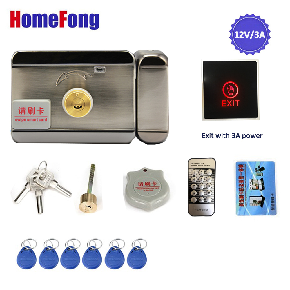 Homefong Electronic  Lock with Exit Button Built-in 12V/3A Power Supply Electric Locks Home Intercom Door Access Control System