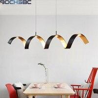 BOCHSBCB Post-modern Spiral Kolye Işık LED Siyah alüminyum çubuk Sayaç Asılı Lamba Restoran Oturma Yemek Odası Işıkları