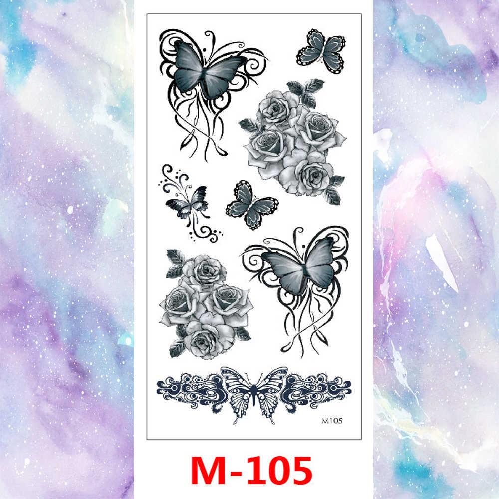 Geçici sahte dövme etiket kadınlar erkekler için suluboya çiçek kız dövme klasik mürekkep siyah boya su geçirmez yetişkin dövmeler
