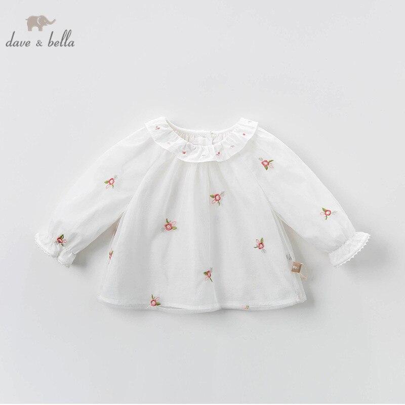 DBZ13491 dave bella весенние сетчатые рубашки с цветочной вышивкой для маленьких девочек, топы для младенцев, детская одежда высокого качества|Блузки и рубашки| | АлиЭкспресс