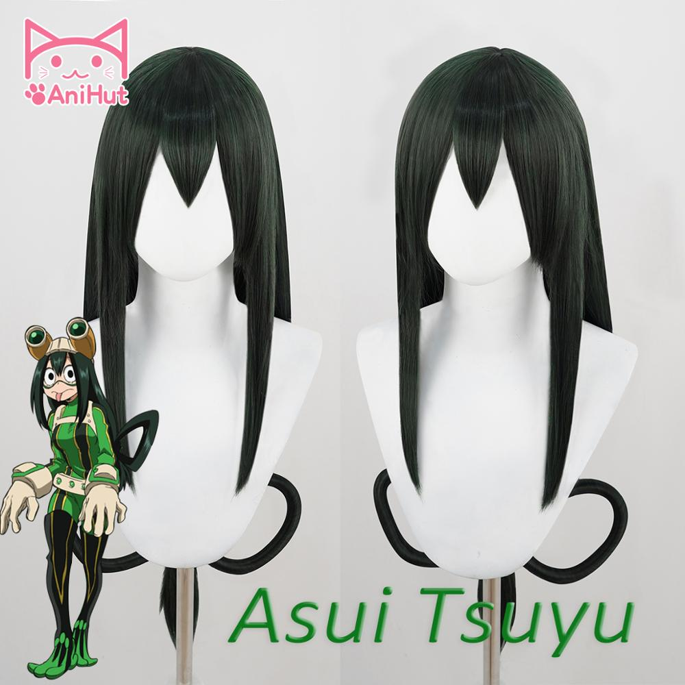 AniHut Asui Tsuyu Wig Boku No Hero Academia Cosplay Wig Anime My Hero Academia Cosplay Hair Synthetic Green Wigs Asui Tsuyu