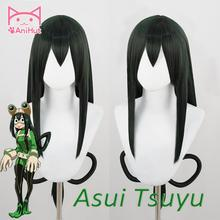 Anihut Wig Cosplay-Wig-Anime Boku Academia Hair-Synthetic No-Hero Tsuyu Green Asui