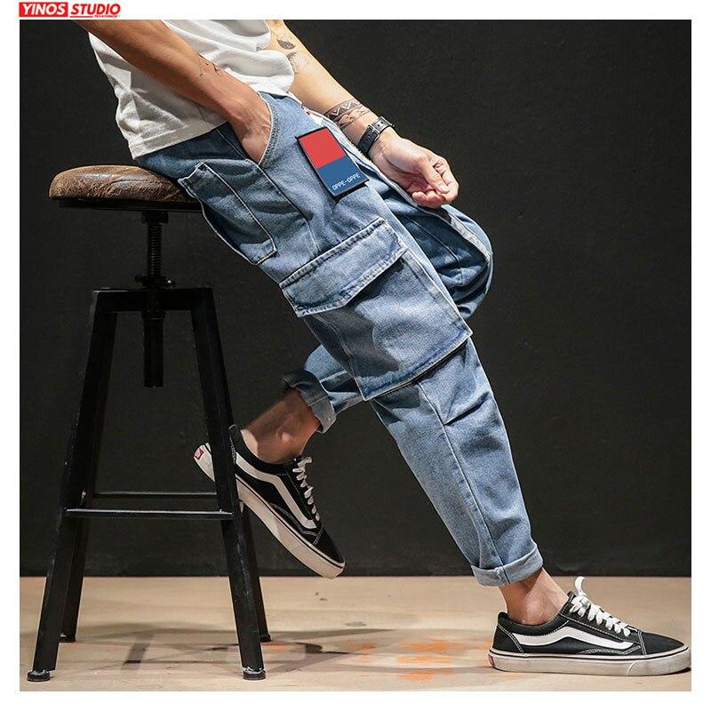 Dropshipping Autumn Men Pocket Streetwear Demin Pants 2020 Mens Patchwork Cargo Jeans Male Baggy Vintage Demin Toursers