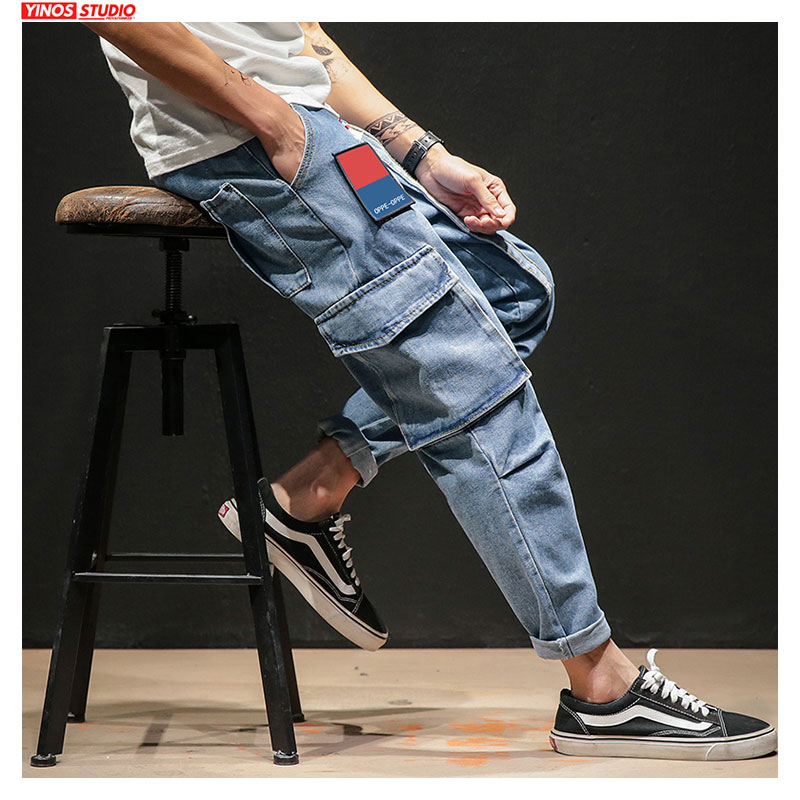Dropshipping Spring Men Pocket Streetwear Denim Pants 2020 Mens Patchwork Cargo Jeans Male Baggy Vintage Denim Trousers