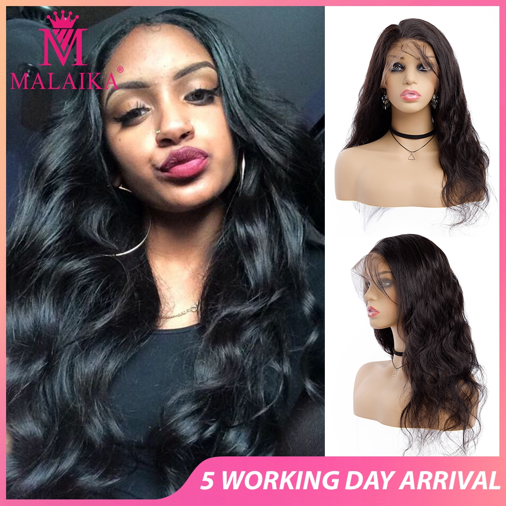 MALAIKA Hair Pre Plucked Full Lace Human Hair Wigs Brazilian Body Bleached Knots With Baby Hair Wigs For Black Women