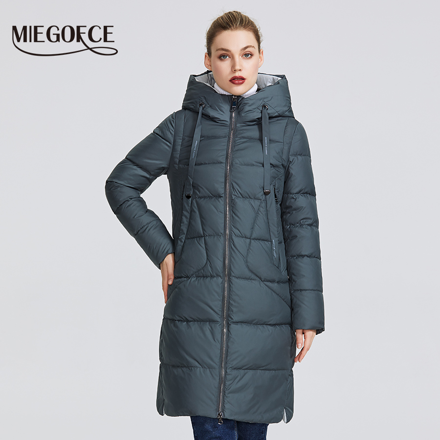 MIEGOFCE 2019 New Winter Collection Coat Women Parka  Length Below The Knee Windproof Women Jacket With Stand-up Collar And Hood