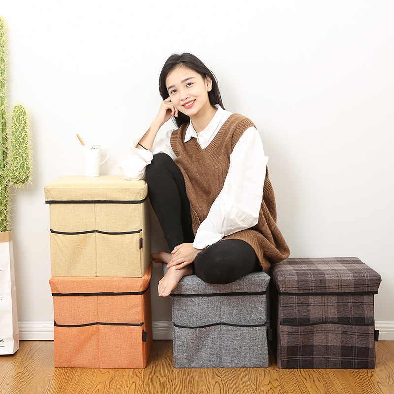 Plaid Linen Cartoon Storage Chair Storage Stool Box Adult With Cap Foldable Clothes Storage Box Creative Footstool