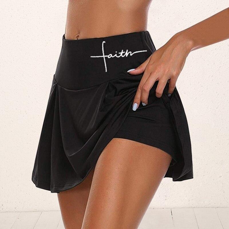Gym Women Running Shorts Skirt High Waist New Shorts Mesh Double Layer Print Patchwork Fitness Shorts Sports Short Skirt Drop 3