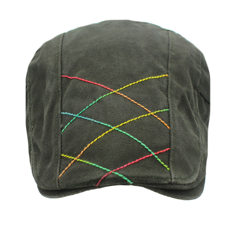 Bead canvas bile cap spring and summer new hand sewn thick line sports cap must choose neutral tide hat in Men 39 s Berets from Apparel Accessories