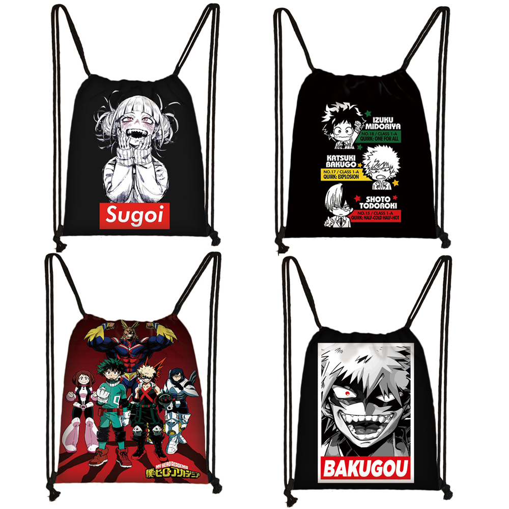 Japanese Anime Boku No Hero Academia Drawstring Bag My Hero Academia Casual Backpack Teenager Storage Bag Women Men Travel Bags