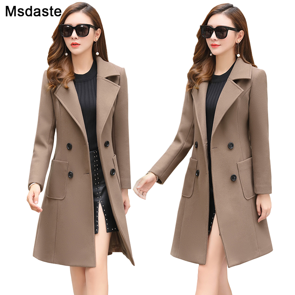 Woolen Women Jacket Coat Long Slim Blend Outerwear 2019 New Autumn Winter Wear Overcoat Female Ladies Wool Coats Jacket Clothes