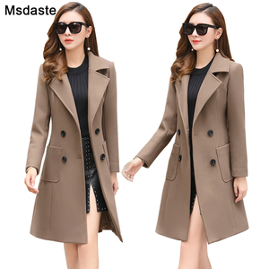 Image 1 - 모직 여성 자켓 코트 긴 슬림 블렌드 겉옷 2019 새로운 가을 겨울 착용 오버코트 여성 숙녀 모직 코트 자켓 의류