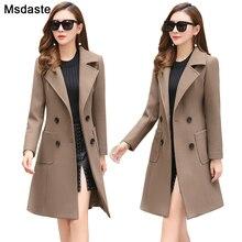 Jaqueta feminina longa mistura de lã, casaco de lã longo roupa exterior para mulheres outono inverno 2019