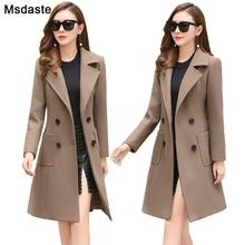 Wełniana kurtka damska płaszcz długa obcisła mieszanka odzieży wierzchniej 2019 nowa jesienna odzież zimowa płaszcz kobiet panie płaszcze z wełny kurtka ubrania