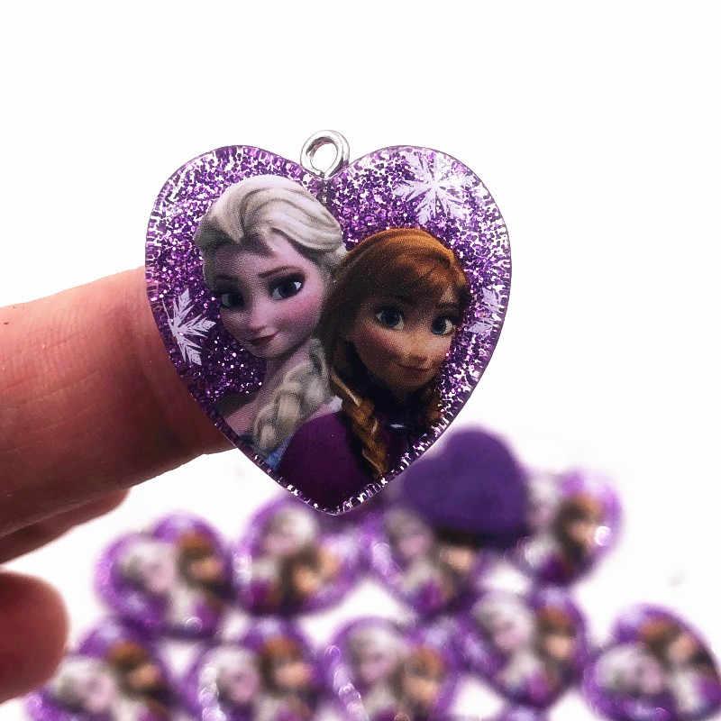 1 Buah Baru Kartun Elsa Ariel Princess Ikon Resin Liontin Shinning Panas Ornamen untuk Diy Kalung Perhiasan Gantungan Kunci
