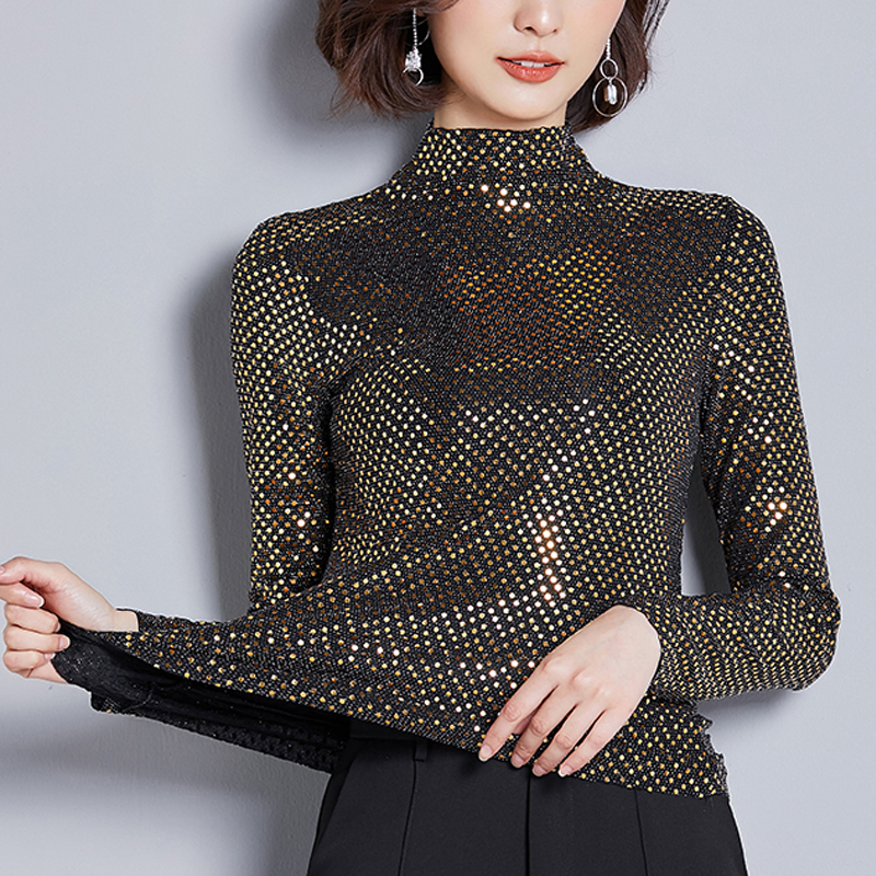 2019 Autumn New Women Blouses Half Turtle Neck Fashion Sequin Embroidered Long-sleeved Fashion Casual Shirt Plus Size 3XL 314B