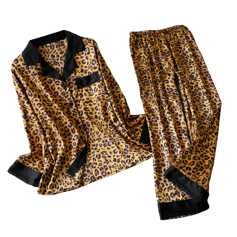 Leopard Pyjamas Women Stripe Satin Pajamas Sets 2019 New Spring Long Sleeve 2 Pcs Suit Casual Silk Home Clothing Sleepwear
