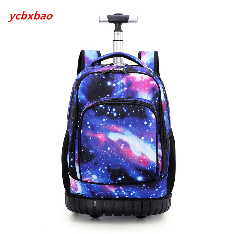 Image 3 - 18 Inch Rolling Backpack Travel School Backpacks on Wheel Trolley SchoolBag for Teenagers Boys Children School Bag with Wheels-in School Bags from Luggage & Bags