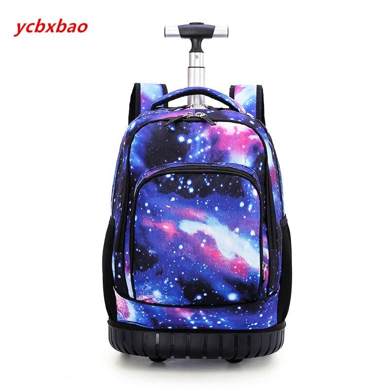 18 pouces sac à dos roulant voyage école sacs à dos sur roue chariot cartable pour adolescents garçons enfants sac d'école avec roues - 3