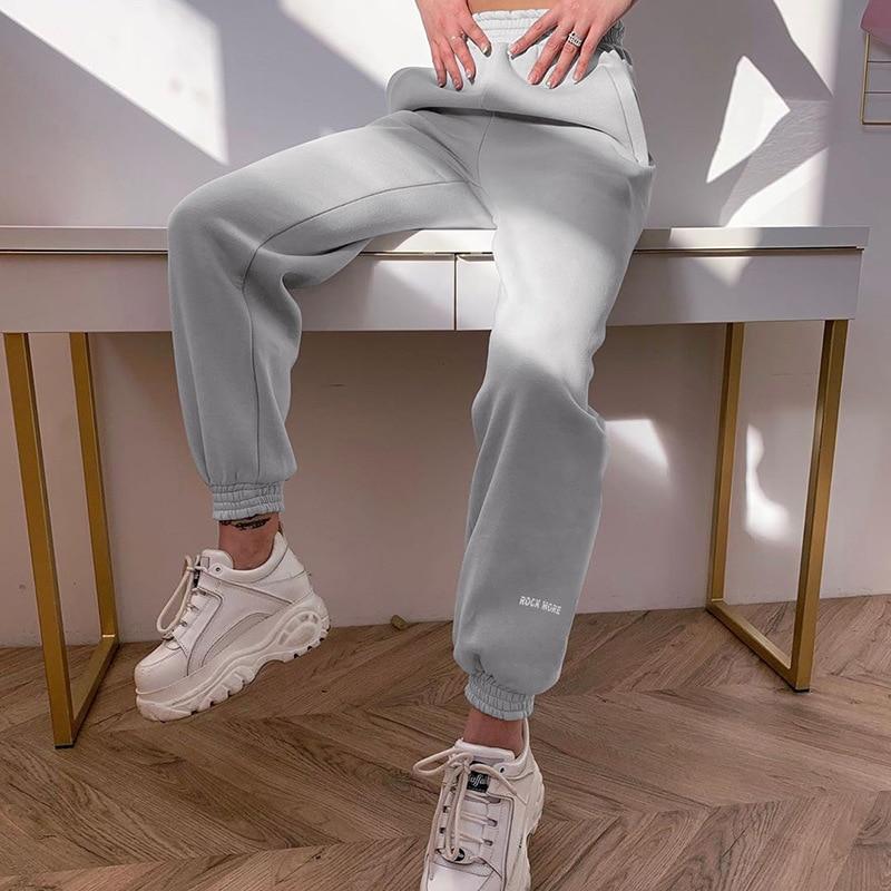 2020 Gym Womens Joggers Pants Summer Casual Capris Pants Harem Letter Print Grey Sweatpants Women Harajuku Trousers