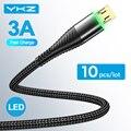 10 шт./лот YKZ 3A светодиодный кабель Micro USB для быстрой зарядки, Micro USB зарядное устройство, Дата-кабель, провод для Samsung Huawei, шнур для Android