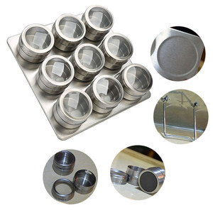 Image 2 - 9Pcs Set With Adjustable Metal Stand To Organize and Hold Spices Dried Herbs Kitchen Tools Stainless Steel Magnetic Spice Rack