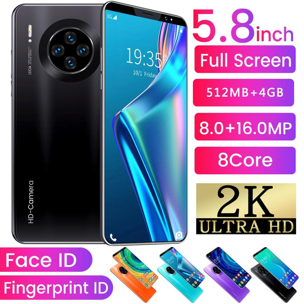 Mate33 Pro Smartphone con 512M + 4GGB memoria grande 5,8 pulgadas soporte de pantalla cara/huella digital desbloquear teléfonos móviles Dual SIM|Transceptor|   - AliExpress
