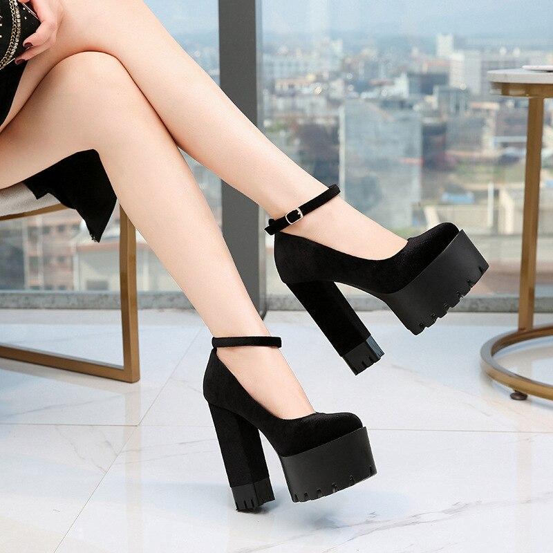 Image 3 - COWCOM buty damskie 15CM Super buty na wysokim obcasie wodoodporna platforma Catwalk pokaż pojedyncze buty damskie sandały ZYW 1317 2Wysokie obcasyButy -