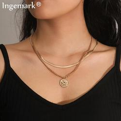 Vintage Boho Angel Pendant Choker Necklace Women Collares Multilayer Coin Snake Smooth Chain Necklaces Aesthetic Fashion Jewelry