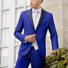 Новая Мода Королевский синий жених тонкий fitTuxedos Groomsmen Лучший Человек Бизнес Свадебные костюмы 2 шт.(куртка+ брюки