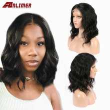 13x6 Short Bob Lace Front Wigs Human Hair Natural Wave Indian Remy Natural Black Pre Plucked Bleached Knots For Women(China)