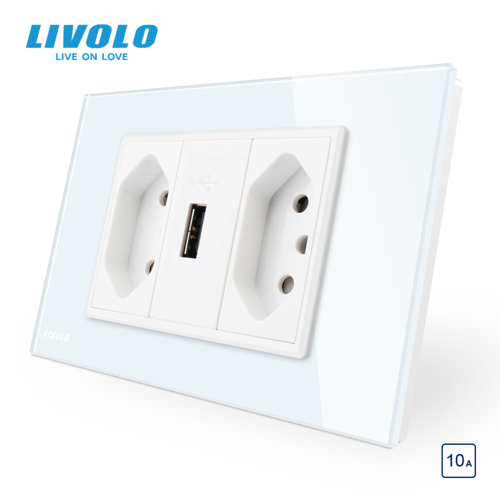 Livolo Brazilian Standard 3Pins 10A 20A with USB Socket White Black Glass panel for typninchninch pluggrounding wires