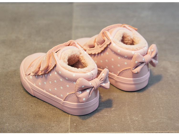 babaya 2019 Winter New Baby Shoes Cute Bow Princess Shoes Baby Girls Shoes Casual Plus Velvet Winter Shoes Girls Boots