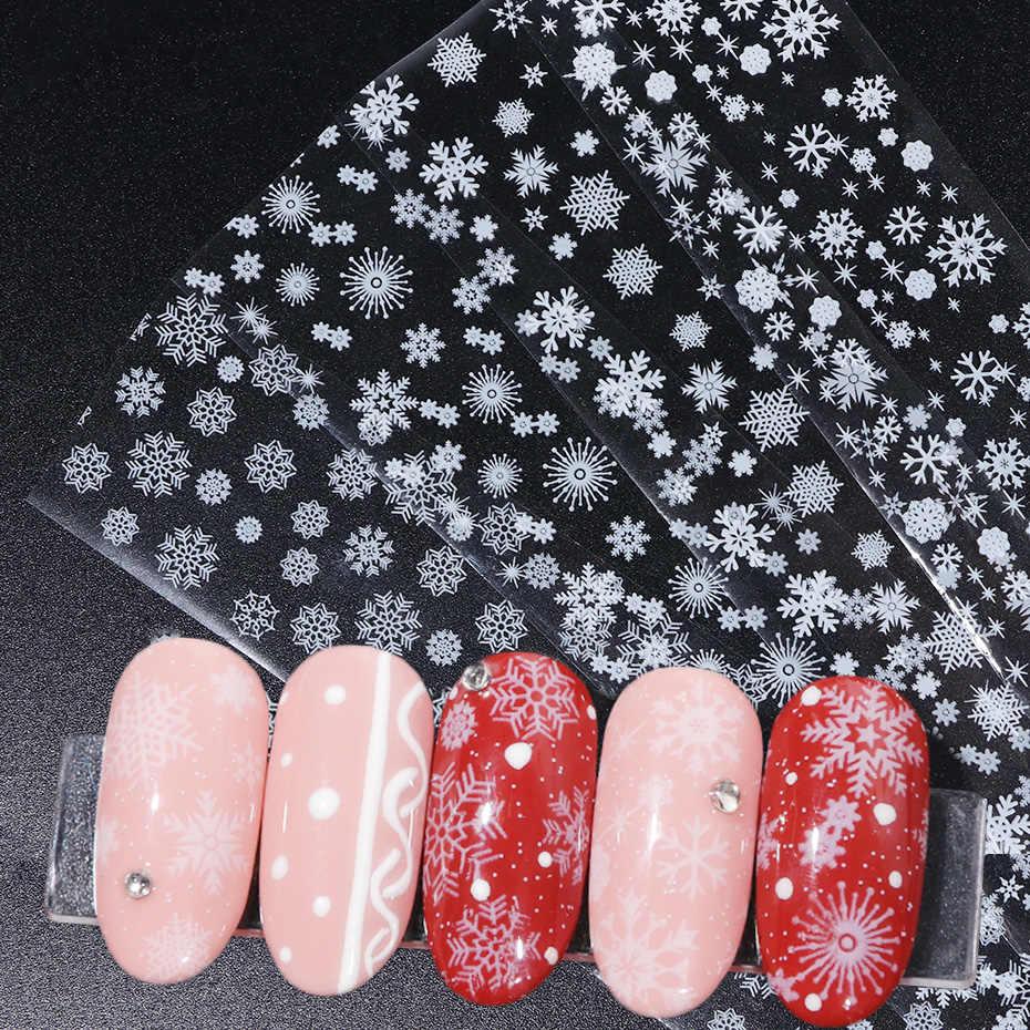 4 шт белые снежинки для переноса ногтей Фольга слайдеры клейкие наклейки