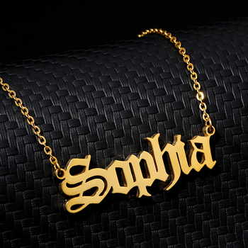 Personalized Name Necklace Old English Customized Nameplate Necklace Stainless Steel Necklace Pendant Gold Necklaces Gold Chain gold feather pendant chain necklace