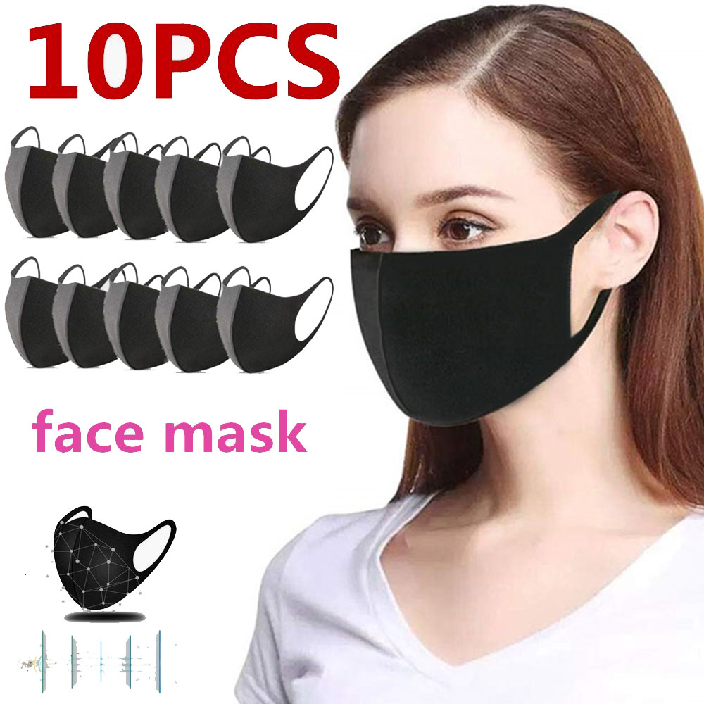 10 Pcs Black Anti-Infection Virus Face Mouth Mask Mouthmask For Unisex Anti-dust Mouth Facemask Breath Straps Washable Reusable