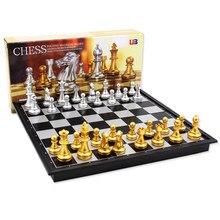 Middeleeuwse Folding Classic Chess Set Met Schaakbord 32 Stuks Goud Zilver Magnetische Schaken Draagbare Reizen Games Voor Volwassenen Kid Speelgoed