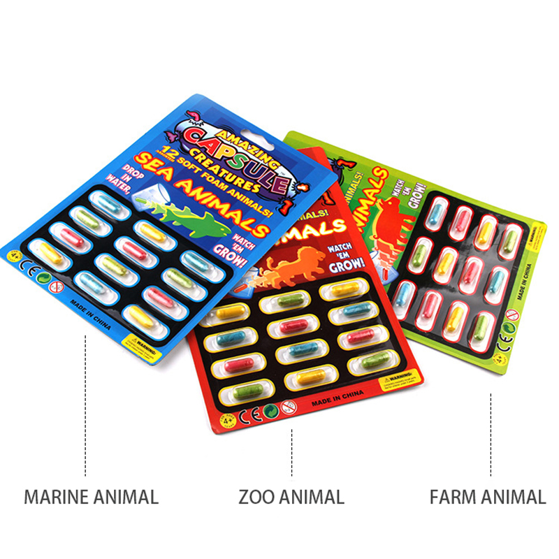 Kids Toys 12Pcs Grow Water Absorption Larger Pill Various Inflatable Capsule Expansion Colorful Puzzle Creative Toy