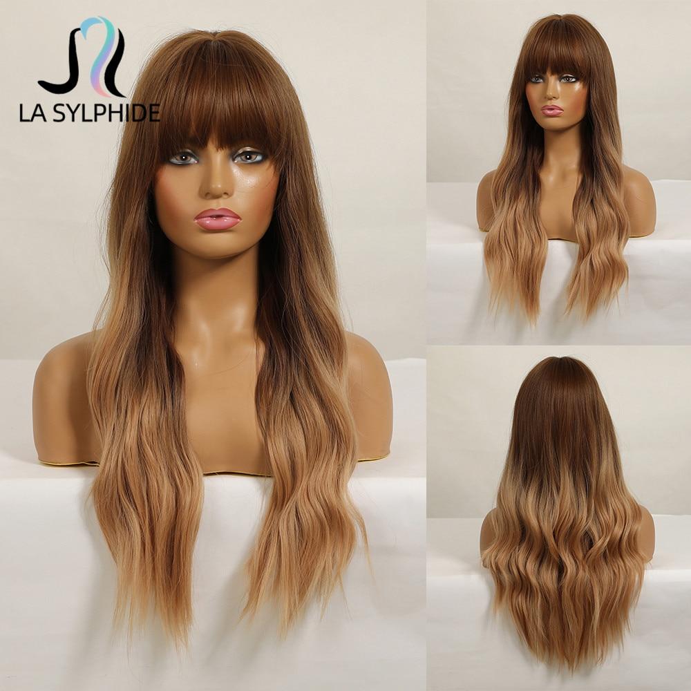 La sylphide peruca sintética longa raiz ondulada marrom escuro ombre marrom perucas louras com franja para branco preto mulher festa diária bonito