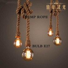 hemp rope pendant lights vintage retro personality industrial hanging lamp  for loft living room restaurant Edison hanglamp
