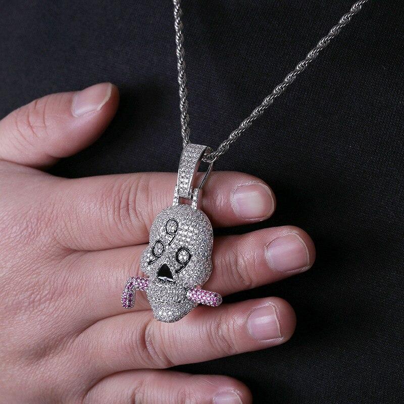 Glacé individualité Hip Hop 999 squelette tête pendentif Micro pavé cubique zircone pierres collier bijoux en argent pour homme