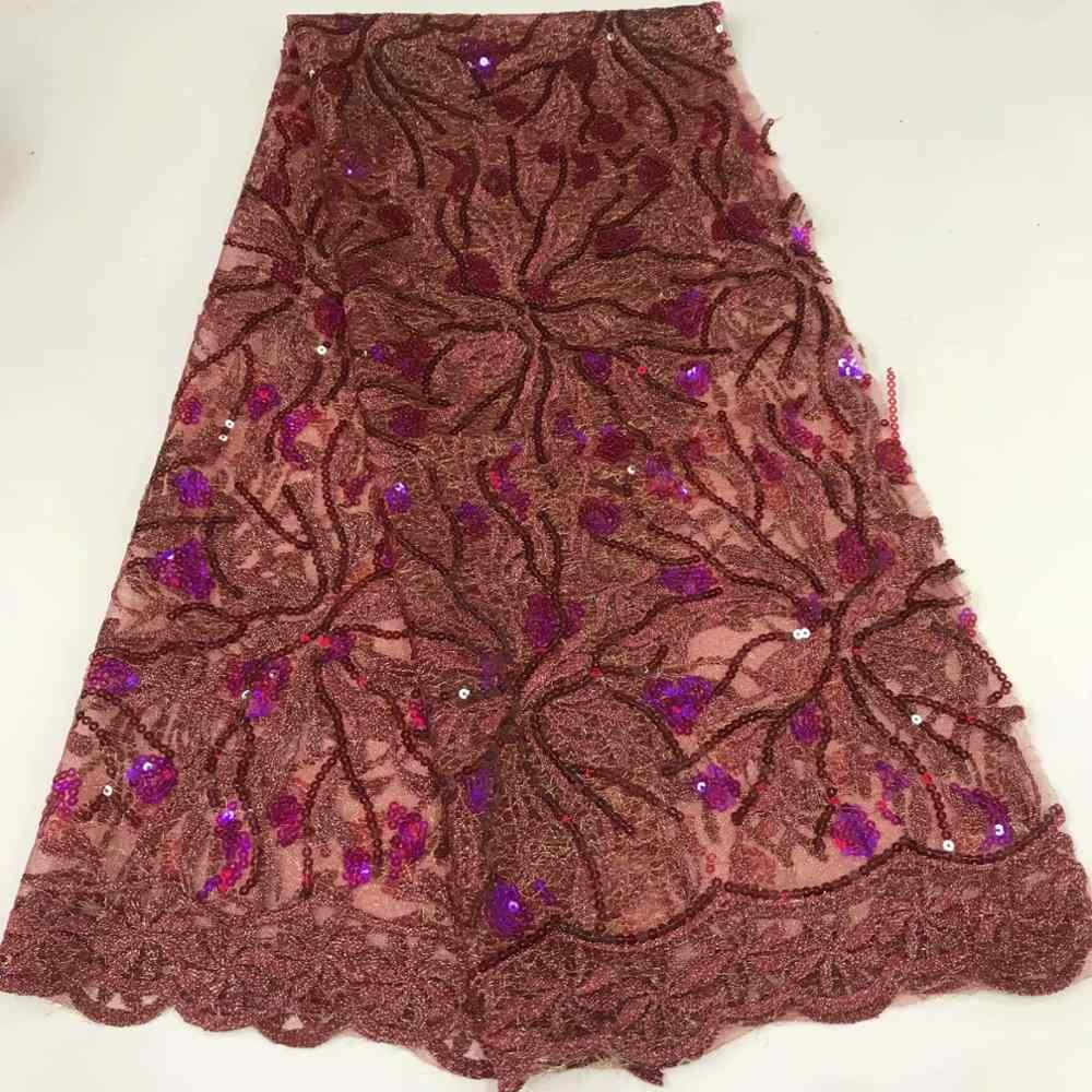Nowy projekt afryki koronki materiał brokatowy czerwone cekiny francuski koronki tiul tkanina z cekinami do sukni ślubnej FFR914