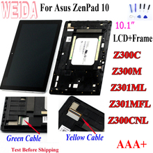 WEIDA For Asus Zenpad 10 Z300M Z301ML Z301MFL Z300CNL 1280*800 LCD Display Touch Screen Assembly with Frame for Asus Z300C LCD asus z170mg lcd display touch screen assembly for asus zenpad c 7 0 z170mg z170 mg lcd screen for asus z170mg original screen