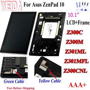 Weida tela de reposição para asus zenpad, display de lcd para asus zenpad 10 z300m z301ml z301mfl z300cnl 1280*800, montagem com moldura asus z300c lcd