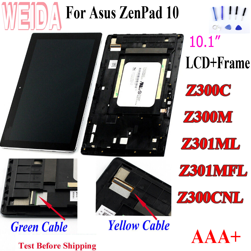 WEIDA For Asus Zenpad 10 <font><b>Z300M</b></font> Z301ML Z301MFL Z300CNL 1280*800 LCD Display Touch Screen Assembly with Frame for Asus Z300C LCD image