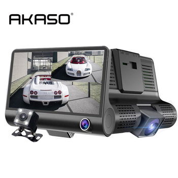 AKASO Dual Lens 4'' HD 1080P Vehicle Car Dash Cam Rearview Mirror Camera Recorder DVR Detector wirh Three Cameras DVR Recorder dual way vehicle sensors loop detector with double channels vehicle inductive loop detector