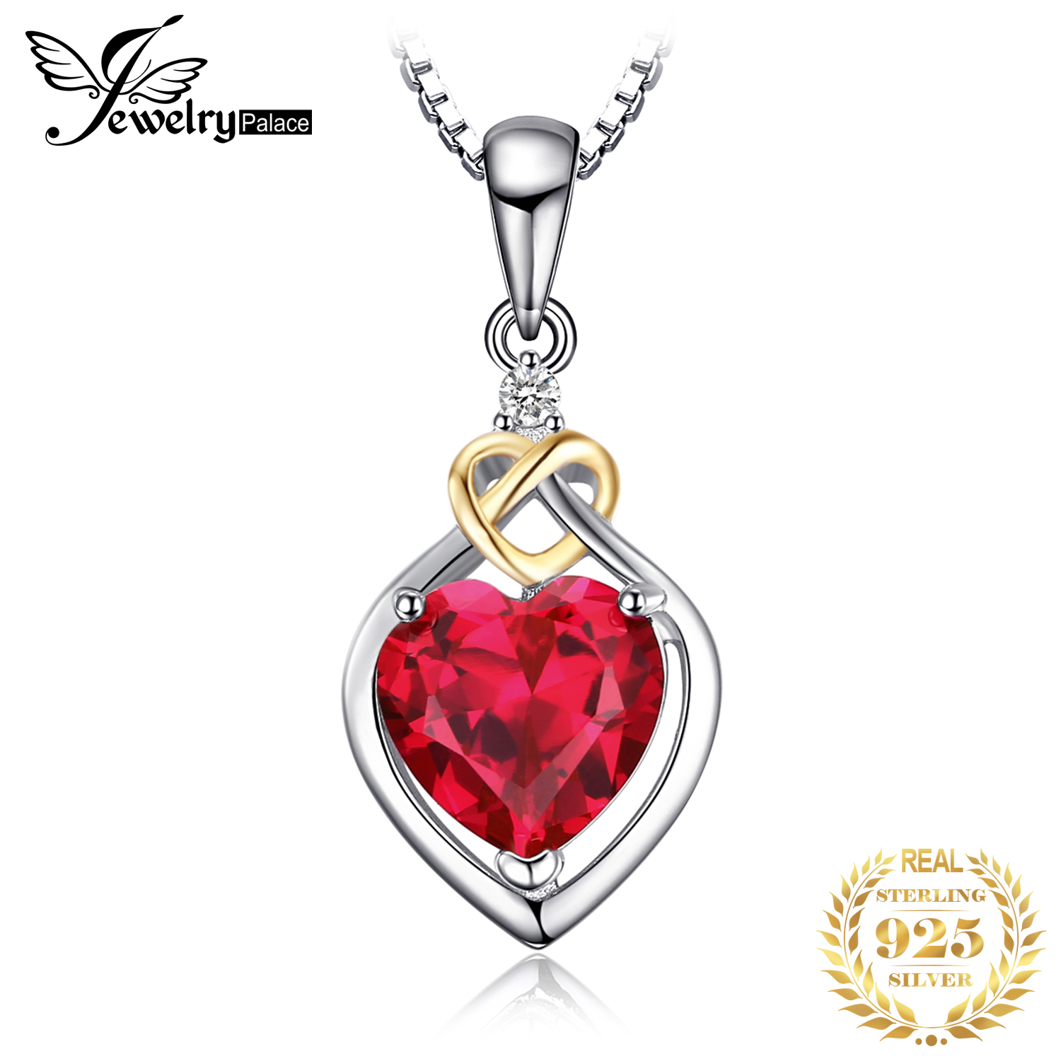 JewelryPalace Heart Created Ruby Pendant Necklace 925 Sterling Silver Gemstones Choker Statement Necklace Women Without Chain