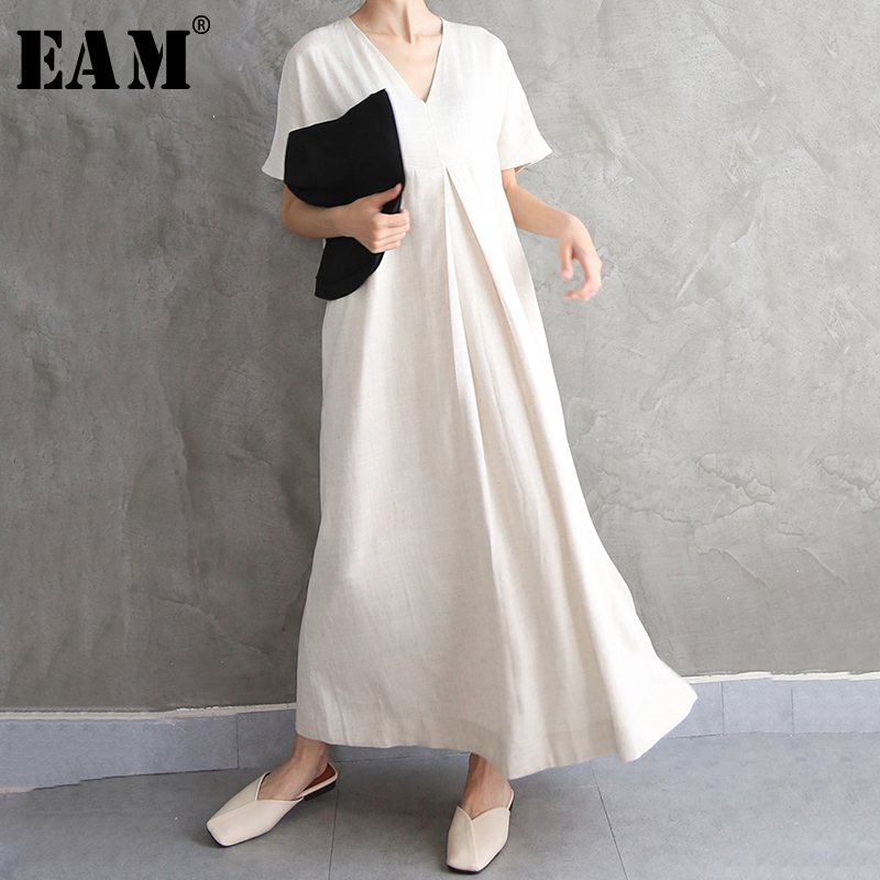 [EAM] Women Brief Long Big Size Temperament Dress New V-Neck Short Sleeve Loose Fit Fashion Tide Spring Autumn 2020 1N633