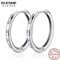 Eleshe autêntico verdadeiro 925 gotas de prata esterlina brincos do parafuso prisioneiro claro cz brincos de cristal para o casamento feminino jóias originais